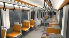 Interior tramvai alb portocaliu