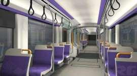 Interior tramvai alb violet