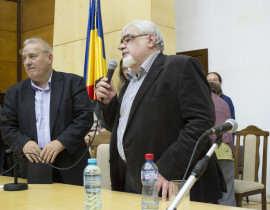 Mircea Mihaies si Andrei Plesu la Timisoara Foto Mirela Corcosa