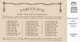 Lista cu șvabii din Jimbolia urcați în vagonul 64074, care a plecat spre URSS, din Jimbolia, în 22 ianuarie 1945.